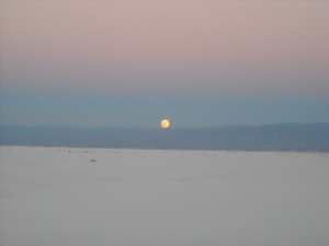 Moonrise over White Sands National Monument, New Mexico.