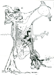 1977 Exquisite Corpse drawing:  Laurence Miller, Roger Miller, Link Yaco,.