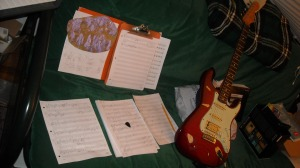 """Miller's work-table for composing """"Hillside Rock"""", for solo electric guitar."""