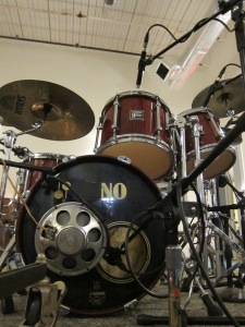 Larry's kit all miked up at Sonelab Studios, May 2015.